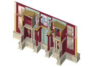 Alternative hypothetical 3d visualisation of the architecture evoked in a fresco from the House of the Cryptoporticus, Pompeii.