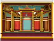 "3d digital visualisation by Martin Blazeby of ""theatrical"" architecture evoked in the fresco on the west wall of Room 23 of the Villa at Oplontis. Copyright King's College London 2007."